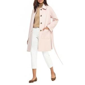 Gal Meets Glam Hadley Belted Wool Coat Large Pink